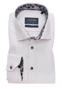 Ledûb Uni Non Iron Fine Contrast Overhemd Wit