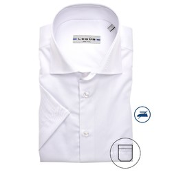 Ledûb Uni Short Sleeve Modern Fit Overhemd Wit