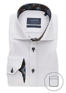 Ledûb Uni Suble Contrast Mouwlengte 7 Overhemd Wit
