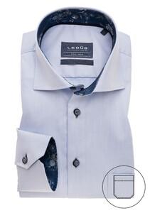 Ledûb Uni Subtle Contrast Overhemd Licht Blauw
