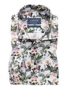 Ledûb Wide Spread Floral Fantasy Overhemd Wit
