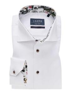 Ledûb Wide Spread Uni Contrast Overhemd Wit