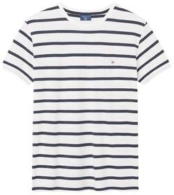 Gant Breton Stripe T-Shirt Eggshell
