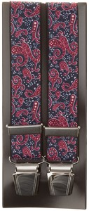 Lindenmann Contemporary Paisley Suspenders Navy-Red