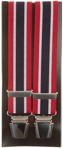 Lindenmann Contrasted Stripe Suspenders Red