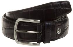 Lindenmann Croc-Like Leather Belt Navy