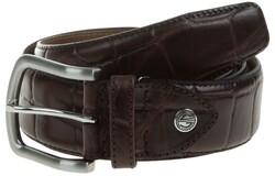 Lindenmann Croc-Like Leather Riem Donker Bruin