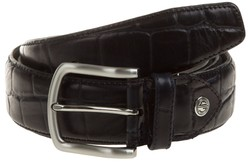 Lindenmann Croc-Like Leather Riem Navy
