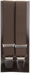 Lindenmann Fine Cross Pattern Suspenders Beige-Black