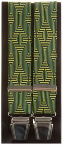 Lindenmann Geometric Pattern Suspenders Yellow