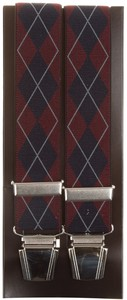 Lindenmann Two Toned Argyle Suspenders Red-Navy