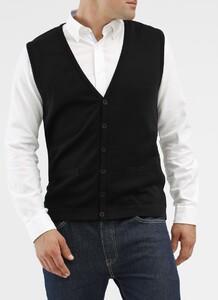 Maerz Button Merino Superwash Vest Zwart