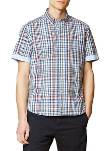 Maerz Cotton Check Short Sleeve Shirt Navy