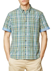 Maerz Cotton Check Short Sleeve Shirt Spanish Green