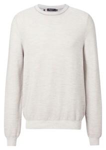 Maerz Cotton Mix Subtle Stripe Knit Trui Stone Grey
