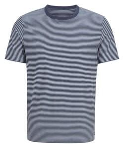Maerz Cotton Stripe Round Neck T-Shirt Indigo