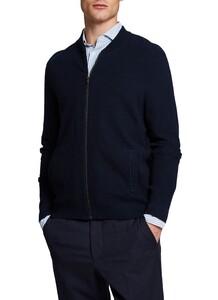 Maerz Cotton Uni Fine Structure Cardigan Navy