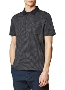 Maerz Dotted Contrast Polo Navy