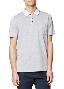 Maerz Fine Dotted Contrast Polo Pure White