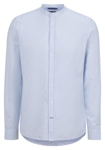 Maerz Fine Stripe Cotton Linen Shirt Blue Meringue
