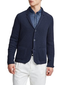 Maerz Knitted Cotton Blazer Vest Navy