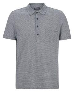 Maerz Linen Cotton Mix Striped Poloshirt Navy