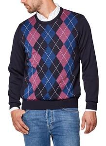 Maerz Merino Argyle Check Pullover Navy