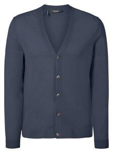 Maerz Merino Extrafine Button Cardigan Vest Nimes Blue