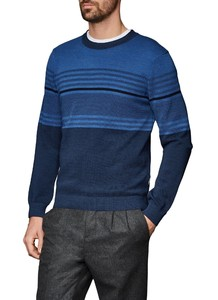 Maerz Merino Striped Pullover Dusk Blue