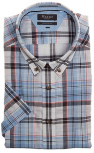 Maerz Multi Check Short Sleeve Overhemd Star Blue