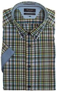Maerz Multi Check Short Sleeve Shirt Spanish Green