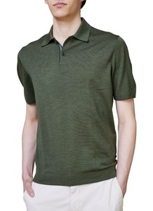 Maerz Polo Pullover Extrafine Merino Poloshirt Camouflage Green