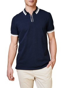 Maerz Retro Look Poloshirt Zipper Collar Polo Navy