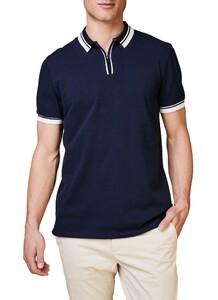 Maerz Retro Look Poloshirt Zipper Collar Poloshirt Navy