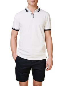 Maerz Retro Look Poloshirt Zipper Collar Poloshirt Pure White
