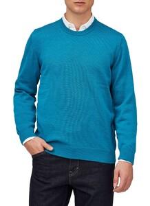 Maerz Round Neck Merino Superwash Pullover Divers Blue Melange