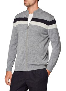 Maerz Striped Contrast Cardigan Mercury Grey