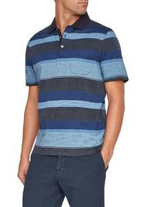 Maerz Striped Contrast Collar Polo Navy