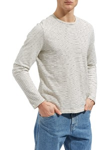 Maerz Striped Long Sleeve T-Shirt Clear White