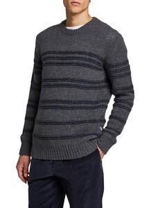 Maerz Striped Round Neck Pullover Dark Grey Melange