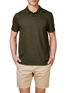 Maerz Two Tone Stripe Polo Olive Cream