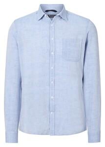 Maerz Uni Cotton Linen Mix Shirt Blue Meringue