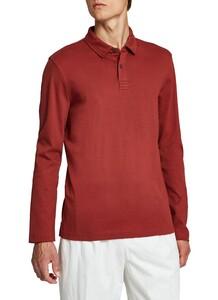 Maerz Uni Cotton Long Sleeve Poloshirt Red Bark