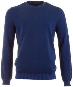 Maerz Uni Cotton Round Neck Pullover Cobalt Melange