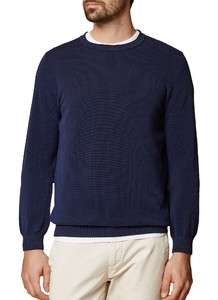 Maerz Uni Cotton Round Neck Pullover Deep Inkblue