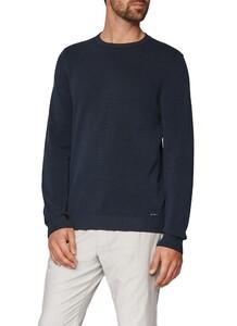 Maerz Uni Cotton Round Neck Pullover Navy