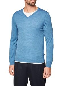 Maerz V-Neck Merino Extrafine Pullover Copen Blue