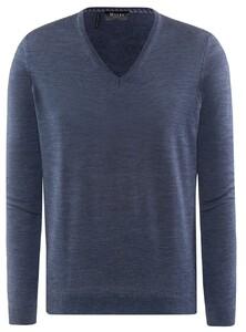 Maerz V-Neck Merino Extrafine Pullover Nimes Blue