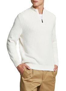 Maerz Zipper Rib Structure Pullover Clear White