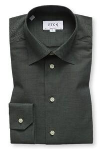Eton Visgraat Flanel Shirt Donker Groen Melange